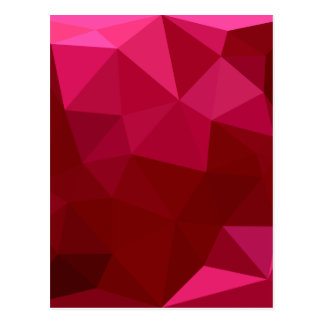 Firebrick Red Abstract Low Polygon Background Postcard
