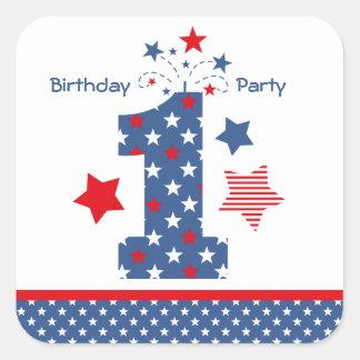 Firecracker 1st Birthday Square Sticker
