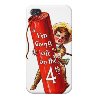 Firecracker Boy 4th of July Vintage Postcard Art Cases For iPhone 4