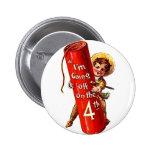 Firecracker Boy Joke 4th July Vintage Postcard Art 6 Cm Round Badge