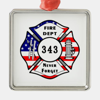 Firefighter 9/11 Never Forget 343 Metal Ornament