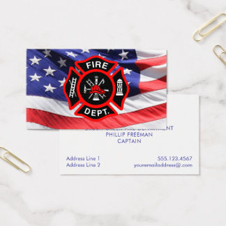 Firefighter American Flag Maltese Cross Business Card