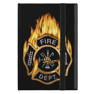 Firefighter Badge Flaming Gold Cover For iPad Mini