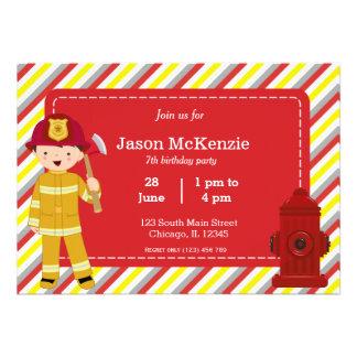 Firefighter birthday boy custom invites