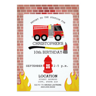 Firefighter Birthday Party Invitation