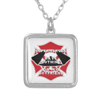 Firefighter boyfriend) silver plated necklace