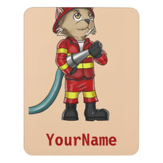 Firefighter Cat Room Sign