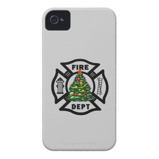 Firefighter Christmas Fire Dept iPhone 4 Case-Mate Case