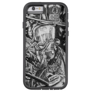 Firefighter - Courage - charcoal drawing Tough Xtreme iPhone 6 Case