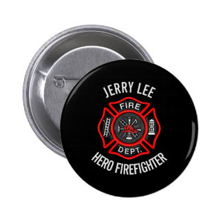 Firefighter Custom Text Name Personalized 6 Cm Round Badge