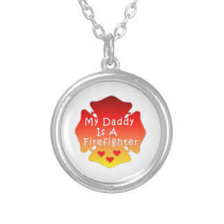 Firefighter Daddy Silver Plated Necklace