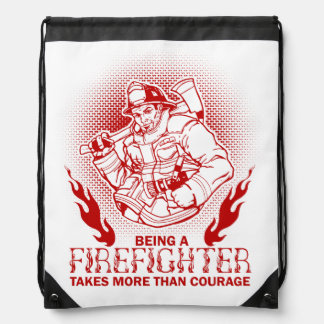 Firefighter Drawstring Bag