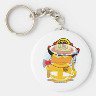 Firefighter Duck Basic Round Button Key Ring