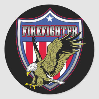 Firefighter Eagle Shield Classic Round Sticker