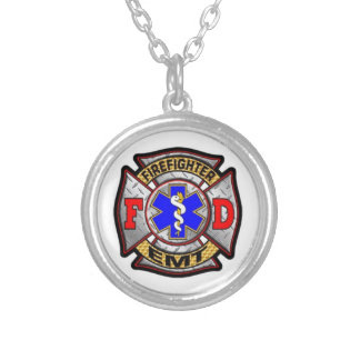 firefighter emt silver plated necklace