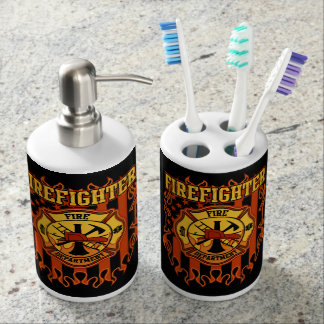 Firefighter Fire Department Badge and Flag Bath Set