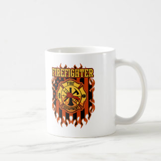 Firefighter Fire Department Badge and Flag Coffee Mug