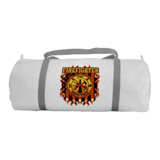 Firefighter Fire Department Badge and Flag Gym Bag