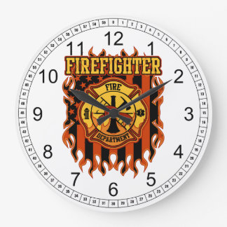 Firefighter Fire Department Badge and Flag Wall Clocks