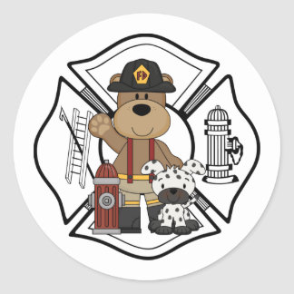 Firefighter Fire Dept Bear Classic Round Sticker