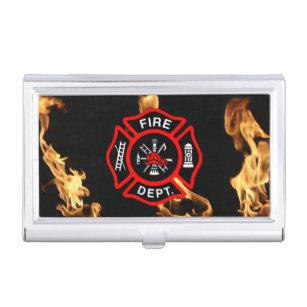 Firefighter business card holders cases zazzle firefighter fire dept maltese cross for firemen business card holder colourmoves