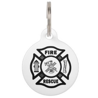 Firefighter Fire Rescue Pet ID Tag