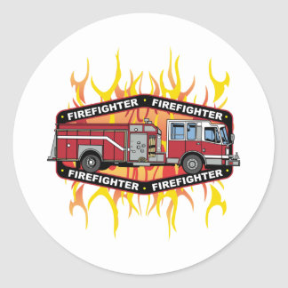Firefighter Fire Truck Classic Round Sticker