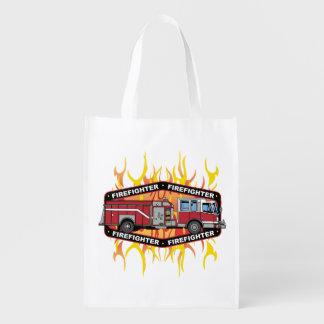 Firefighter Fire Truck Reusable Grocery Bag