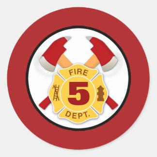 FIREFIGHTER fireman fire axe maltese cross AGE #3 Classic Round Sticker