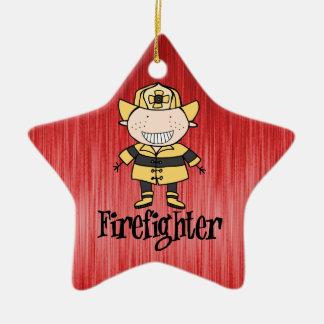 Firefighter Fireman on Red Ceramic Ornament