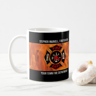 Firefighter Flames Emblem Name and Department Coffee Mug