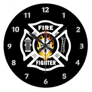 Firefighter Flaming Skull Clock