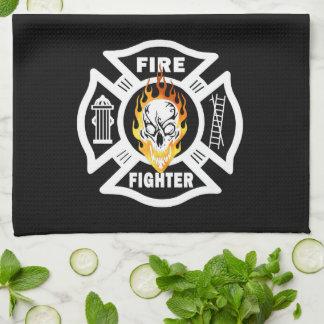 Firefighter Flaming Skull Tea Towel