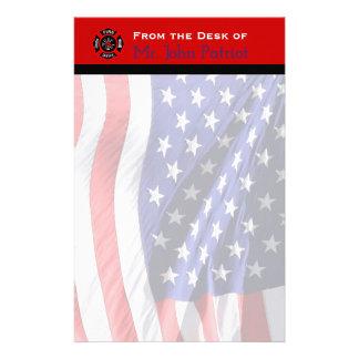 Firefighter Gift American Flag | Maltese Cross Stationery