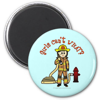Firefighter Girl 6 Cm Round Magnet