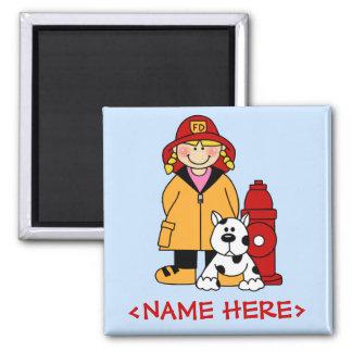 Firefighter (Girl) Square Magnet