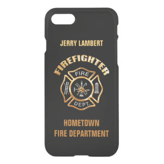 Firefighter Gold and Black Name Template iPhone 8/7 Case