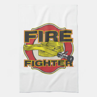 Firefighter Hose and Shield Tea Towel