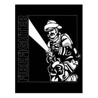 Firefighter in Black and White Post Cards