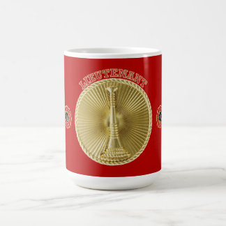 Firefighter Lieutenant's Gold Bugle Medallion Coffee Mug