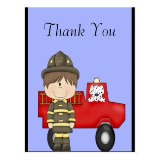 Firefighter, Little Red Fire Truck, Dalmatian Postcard
