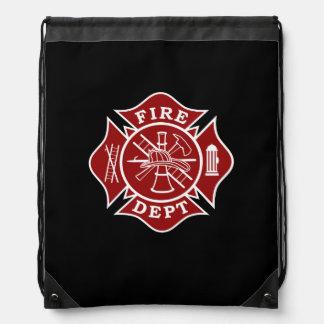Firefighter Maltese Cross Drawstring Backpack