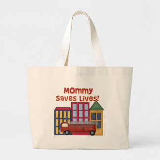 Firefighter Mommy Saves Lives Tote Bags