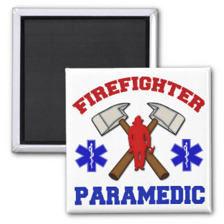 Firefighter Paramedic Square Magnet