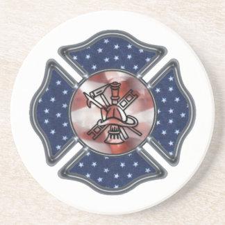 Firefighter Patriotic Maltese Coaster