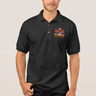 Firefighter Skull 4 and Flaming Axes Polo T-shirt