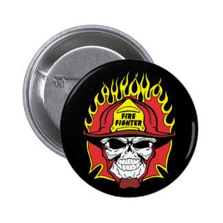 Firefighter Skull 6 Cm Round Badge