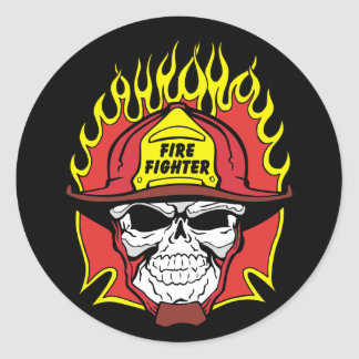 Firefighter Skull Classic Round Sticker