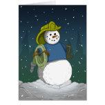 Firefighter Snowman Card