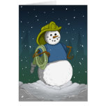 Firefighter Snowman Greeting Card